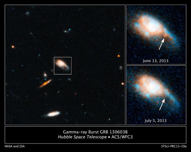 허블우주망원경으로 두 중성자별의 충돌 현상을 관측했다. 화살표 부분에서 강력한 에너지 분출 현상(킬로노바)이 보인다. 2013년 6월에 촬영했다. - NASA, ESA 제공